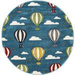 RugVista Tappeto Bambini Balloons Ø 150 Rotondo Blu Scuro/Blu