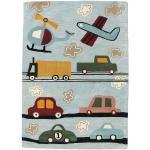 RugVista Tappeto Bambini Cars Handtufted 170X240 Lana Grigio Chiaro/Azzurro