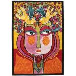RugVista Tappeto Moderno She Has Flowers In Her Hair 140X200 Marrone Scuro/Arancione
