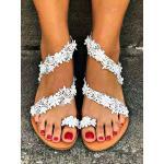 Sandali piatti da sposa Scarpe da sposa piatte con punta aperta in pelle PU bianca abbellimento di fiori