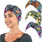 SATINIOR 3 Pezzi Africana Turbante Sciarpa Avvolge Testa Boho Turbante Elastico Annodato Berretto Cappello (Giallo, Arancione e Verde)