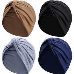 SATINIOR - Cappello turbante da donna, in cotone, morbido, pre-legato, pieghettato, alla moda, 4 pz, 4 colori assortiti - - M