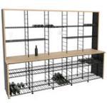 scaffale per vino - / Banco da degustazione - L 305 x Prof. 75 x H 220 cm / 1000 bottiglie di L'Atelier du Vin - Nero/Legno naturale - Metallo/Legno