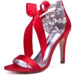Scarpe da sposa in raso Red Open Toe Strass Lace Up Scarpe da sposa Sandali con tacco alto
