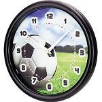 SELVA - Orologio da parete per bambini, motivo: calcio, cassa in ABS, vetro di plastica, silenzioso, Ø 25 cm