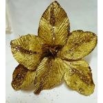Set 24 pezzi fiore pick STELLA TRALCIO cm20, x applicazione albero di NATALE, segnaposto tavolo, panettone. (GE04390247-9) (ORO)
