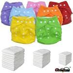 Set 5 Pannolini Lavabili Pocket + 10 Inserti Microfibra Tre Strati -7 Colori -Micropile