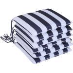 Set 6 Cuscini Per Sedia Sfoderabili 100% Poliestere Bianco E Blu 42x42x5 Cm Miozzi