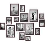 Set di 15 cornici per foto noce moderno in legno massiccio dimensioni da 10x10, 10x15, 13x18, 20x20, 20x30 cm, accessori inclusi, per la progettazione di un collage di cornici di immagini / galleria di immagini