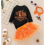 Set per bebè Fiocco Contrasto Mesh Halloween Lettere Carino