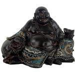 Statua Buddha cinese sorridente con stoffa simbolo felicità prosperità e ricchezza 21.5x16x13.5 cm Cina 530 gr. statua ridente