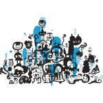 Sticker Adventures on doodle-safari 2 di Domestic - Blu - Materiale plastico
