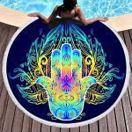 Sticker Superb Palmo della Mano Stampa Telo Mare Rotondo Donna Ragazza, Occhi Nero Blu Viola Rosa,Microfibra, Coperta da Picnic Leggera per Viaggi in Spiaggia (Color 1)