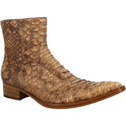 Stivali texani a punta da uomo fatti a mano in pelle di pitone marrone con cerniera laterale PALERMO PITONE MARRONE