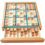 Sudoku Puzzle di Legno di Legno Sudoku Gioco da Tavolo con cassetto per i Bambini I Bambini precoce educativo Cervello Gioco Blu 1Set