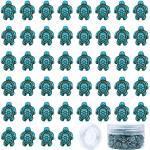 SUNNYCLUE 1 Scatola 100 Pezzi Perline di Tartaruga Ciondoli Perline Distanziali Intagliate con Filo Elastico da 10 m