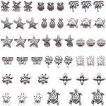 SUNNYCLUE 48 pz 16 Stili Metallo Europeo Perline Charms Tartaruga Stella Marina Trifoglio Gufo Distanziatore Perline con Foro Grande 5mm per Fai da Te Creazione Gioielli, Cadmio& Piombo Libero