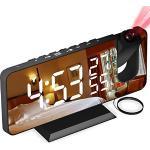 Sveglia Digitale da Comodino con Proiettore, Sveglia con Fm Radio, Usb Doppi Sveglia, 3 Livelli Luminosità, Snooze e 15 Livelli di Volume, 12/24h, Sveglia Multifunzionale, per Camera da Letto