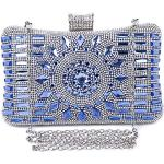 SYMALL Donna Pochette Elegante Diamante Cristallo Scintillante Clutch da Cerimonia Borsa Sera Festa Matrimonio Clutch Strass Borsetta Raso Glitter Pochette, Blu