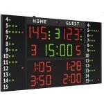 Tabellone segnapunti multisport per palestre e palazzetti sportivi di medie dimensioni, con pannelli laterali per il numero e falli di 12 giocatori.adatto per pallacanestro, pallavolo, calcio, calcio a 5 cod.fc56h25-12a1 art.3045625-12a1