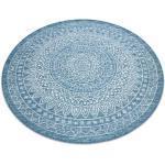 Tappeto DI SPAGO SIZAL LOFT 21207 Rosone BOHO Cerchio avorio/argento/blu rotondo 120 cm
