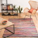 Tappeto intrecciato multicolore in cotone 140 x 200 cm