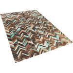 Tappeto marrone beige blu patchwork in pelle - 140x200cm - AMASYA