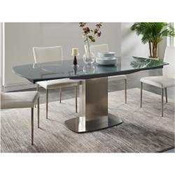 Tavolo da pranzo allungabile in in vetro temperato e metallo 6 a 8 posti Grigio - TALICIA