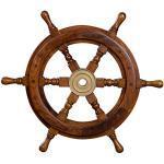 Timone decorativo in legno con mozzo in ottone. Da S a XL. Stile nautico, barca, nave, marittimo., Legno, marrone, Größe L - 46 cm