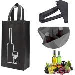 U/R Sacchetti Regalo di vino di spumante o champagne,confezione per vino,sacchetti per vino,Borse Bottiglie Vino,Borsa Vino & Birra,Ogni borsa può contenere 2 bottiglie, Nero 2 pz.