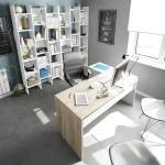 Ufficio completo con scrivania ad angolo e 2 librerie, bianco artik e rovere canadian