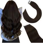 Ugeat Extension Capelli Veri Biadesivo 45cm Tape in Extension Bioadesive Remy #2 Marrone Più Scuro 2.5G 20PCS Exstescion Capelli Veri Adesivo Castano Tape Hair Extensions