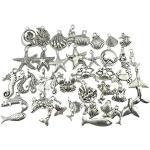 ultnice Argento Antico Tibetano Pesce Scocca Stella di mare bricolage Ciondolo Gioielli Argento 40pezzi