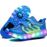 Vansney Scarpe per Pattini a Rotelle con Ricaricabile Luci A LED Modificabili A 12 Colori E Ruote Retrattili Skateboard Sneakers da Skateboard Tecniche Scarpe da Ginnastica Incrociate