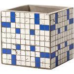 Vaso Marie Mosaïque - / 15 x 15 cm - Cemento smaltato di Serax - Bianco/Blu - Ceramica/Pietra