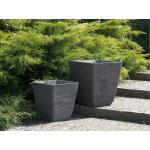 Vaso quadrato per interno ed esterno grigio 49x49x53cm DELOS