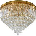 Vetrineinrete® Lampadario da soffitto plafoniera con sfere pendenti cristalli in vetro portalampada attacco e14 arredamento casa (Oro, Diametro 60 cm) Z9