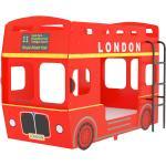 vidaXL Letto a Castello Autobus Londra Rosso in MDF 90x200 cm