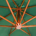 vidaXL Ombrellone Pensile 350 cm Palo in Legno Verde