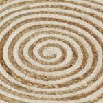 vidaXL Tappeto Lavorato a Mano in Juta Design a Spirale Bianco 150 cm