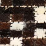 vidaXL Tappeto Patchwork in Pelle Vera 160x230cm Quadri Marrone/Bianco