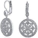 Vintage Style Bridal Sorcerer Shield Circle Round Compass Cubic Zirconia CZ Prom Dangle Earrings Silver Plated Brass