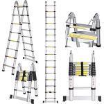 Voluker Scala telescopica in alluminio 5 Metri Scala Telescopica Pieghevole,Multiuso Allungabile Scaletta Alluminio Carico Massimo 150 kg