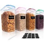 Vtopmart 4L Contenitori Alimentari per Cereali,Pasta, Senza BPA Contenitori Plastica con Coperchio,Set di 4 + 24 Etichette