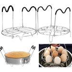 WeFoonLo 1 di Acciaio Inossidabile Sottopentola per cestello + 1 di 9 buche Egg Rack di Cottura con Maniglie in Silicone per pentola a Pressione istantanea da 6 QT 8 QT
