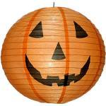 WeRHalloween 40 cm Pre-Lit Zucca Gigante lampade sferiche 6 Bianco luci LED per la Decorazione di Halloween, Arancione