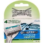 Wilkinson Sword Quattro Titanium Sensitive lamette di ricambio 4 pz uomo