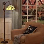WRMING 12W LED Lampada da Terra Soggiorno Dimmerabile,Tiffany Regolabile Vintage Lampada a Stelo,E27 Vetro Lampada da Lettura per Camera da Letto Studio Ristorante,con Telecomando,H165cm,b