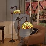 WRMING 12W LED Lampada da Terra Soggiorno Dimmerabile,Tiffany Regolabile Vintage Lampada a Stelo,E27 Vetro Lampada da Lettura per Camera da Letto Studio Ristorante,con Telecomando,H165cm,c