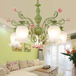 XMYX Lampadario a Sospensione Fiorentino Classico Rosa Fiore Disegno Lampadari Soggiorno Camera da Letto Sala da Pranzo Illuminazione,Verde